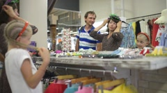 Family Get Shopping at the Clothes Store - posing in front of mirror Stock Footage