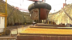 Ship in dry dock with workers Stock Footage