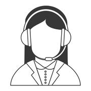 Female person with headset icon Stock Illustration