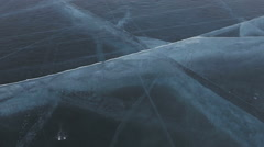 Cracks in transparent ice Stock Footage