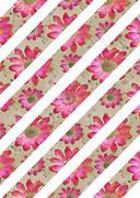 Floral Stripes Background Pattern Stock Illustration