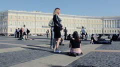 Group Of Girls Resting In A Square In Russia Stock Footage
