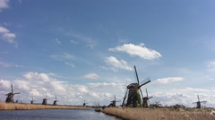 4K time-lapse of UNESCO windmills at Kinderdijk, the Netherlands Stock Footage