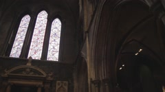 St. Patrick's Cathedral Dublin, Ireland. Stained Glass - stock footage