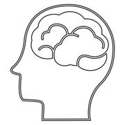 Head profile witn brain icon Stock Illustration