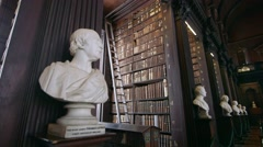 Trinity College Dublin, Ireland Library and Grounds. Statue Stock Footage