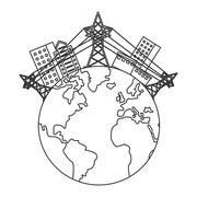 Earth globe with buildings and electricity towers icon Stock Illustration