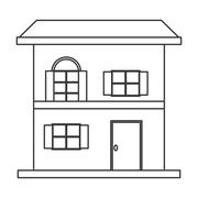 small house icon - stock illustration