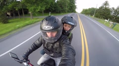 Motorcycle selfie high angle Stock Footage
