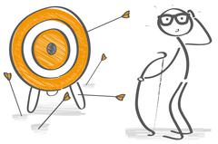 Stick figure try to hit a target - stock illustration