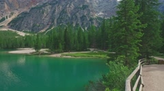 Amazing scenic view of Lago di Braies, South Tyrol, Italy Stock Footage