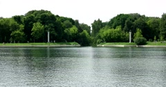 The pond in front of the Sheremetev Palace. Kuskovo Stock Footage