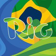 Abstract rio logo over Brasil national colors background. Digital vector imag Stock Illustration