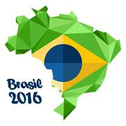 Abstract Brasil 2016 logo, with national flag on country map, over white back Stock Illustration
