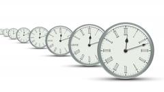 Group of clocks. Looping. Stock Footage
