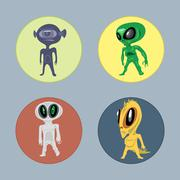 Alien creatures and monsters set flat style. Digital vector image Stock Illustration