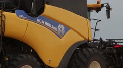 New Holland Combine Side View Close Up Stock Footage