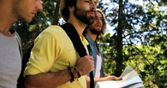Three hiker friends walking in the forest Stock Footage