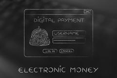 Digital payment login pop-up with electronic circuit coin purse Stock Illustration