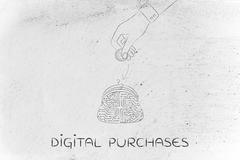 Electronic circuit coin purse and hand dropping money inside Stock Illustration