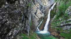4K. Amazing View of Waterfall Savica in Alps Mountains, Slovenia. Stock Footage