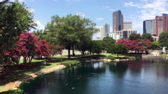 Charlotte NC as seen from Marshall Park Stock Footage