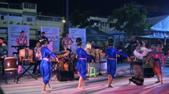 Thai folk musicians perform in Bangkok Light of Happiness Festival Stock Footage