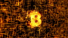 Bitcoin Logo Gold Binary Stock Footage