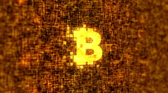 Original Bitcoin Logo Gold Stock Footage