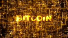 Bitcoin logo on digital hi-tech background Stock Footage