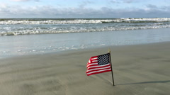 American flag blowing at beach Stock Footage