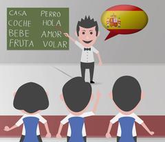 academy spanish teacher - stock illustration