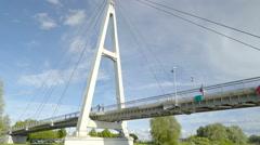 Cruising underneath the big bridge in Tartu Stock Footage