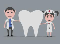 Dolls nurse and doctor with a tooth Stock Illustration