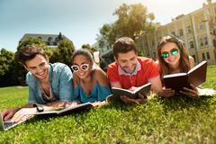 Modern youth studying outdoors Stock Photos
