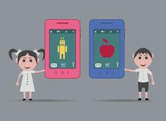 Children with apple and android smartphone Stock Illustration