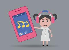 Girl listening music by mobile phone Stock Illustration