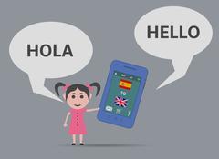 girl with smartphone voice language translator - stock illustration
