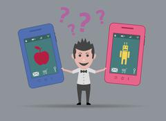 Man torn between apple or android smartphone Stock Illustration