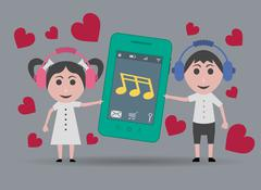 girl and boy listening to romantic music on the mobile phone - stock illustration
