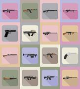 Modern weapon firearms flat icons vector illustration Piirros