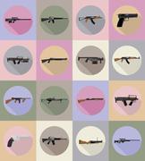 Modern weapon firearms flat icons vector illustration Stock Illustration