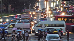 Time Lapse Asia Singapore busy rush-hour Traffic heavy pouring Tropical rain - stock footage