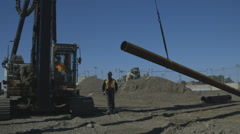 Foundation pile machinery Stock Footage