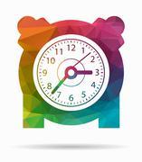 Alarm clock poly icon Stock Illustration