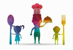 Poly icon family eating Stock Illustration