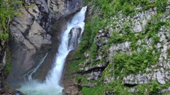 The most visited waterfall in Slovenia Stock Footage