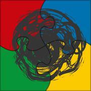 puzzle icon blot - stock illustration