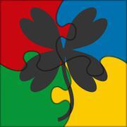 puzzle icon clover - stock illustration