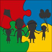 Puzzle icon family playing Stock Illustration